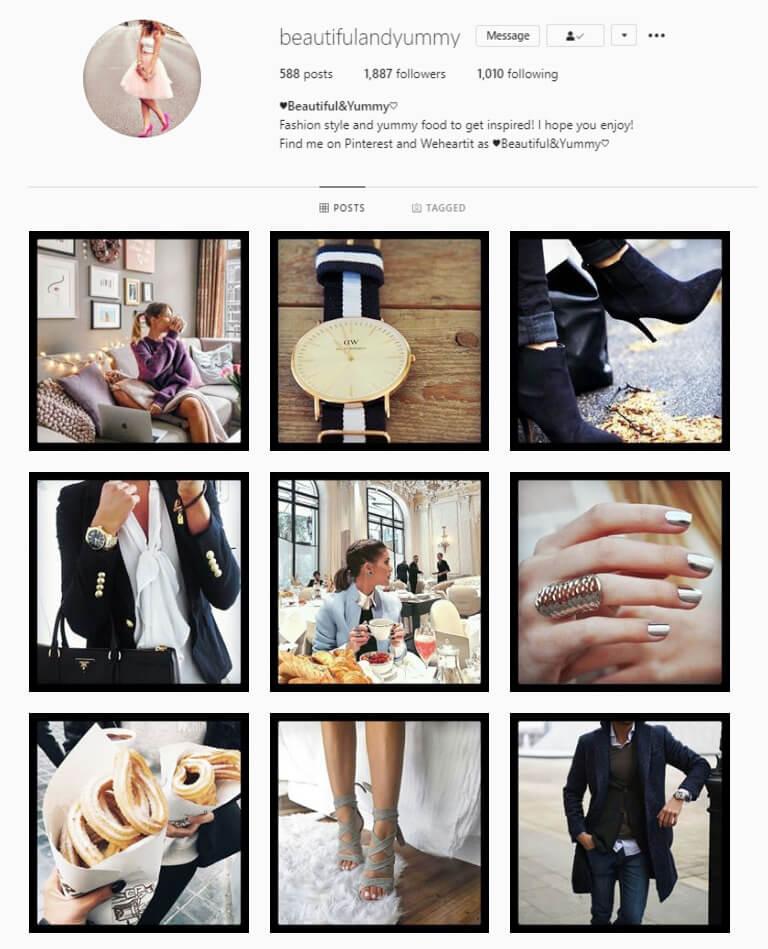 instagram feed black border theme