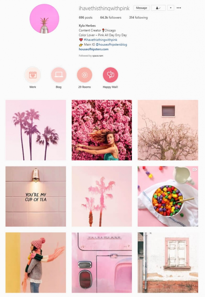 instagram feed ideas pink theme