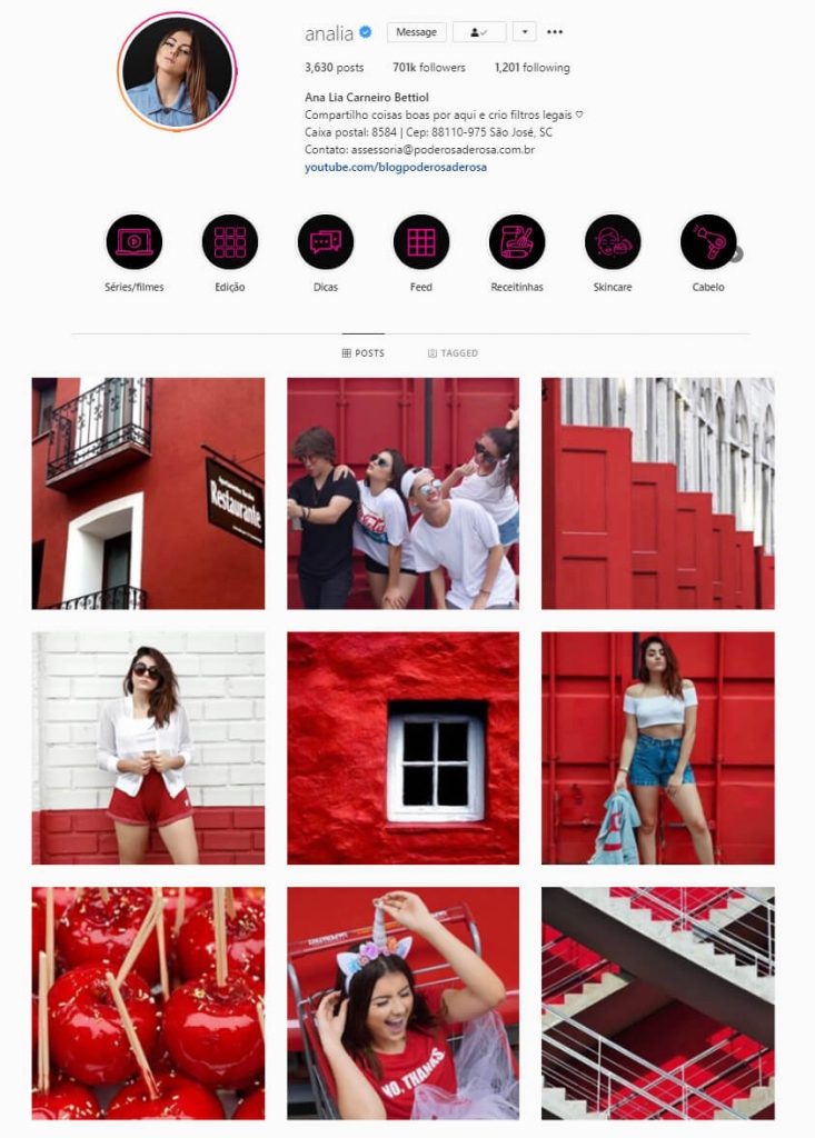 instagram feed ideas red theme
