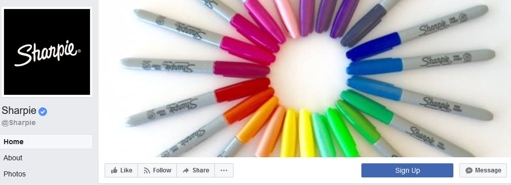 Sharpie Facebook banner example