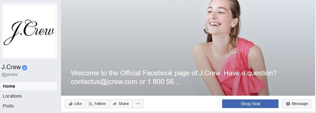 J.Crew Facebook banner example