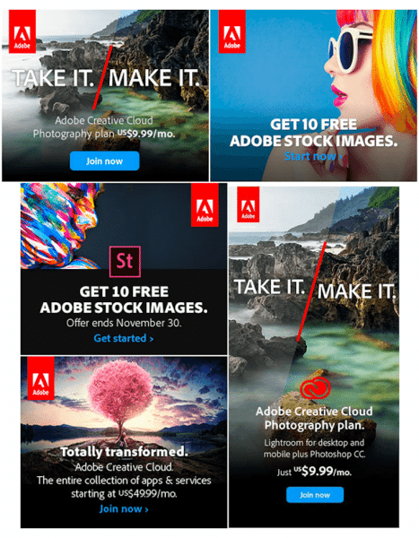 Adobe products online advertisement example