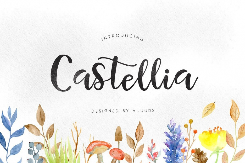 Castellia hand lettering calligraphy brush font