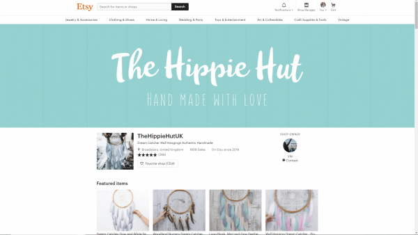 Etsy Banner Hippie Example