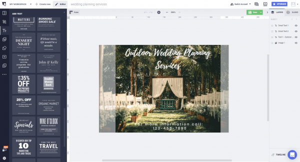how to add text to wedding photo