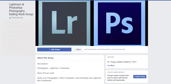 Lightroom Group cover photo facebook