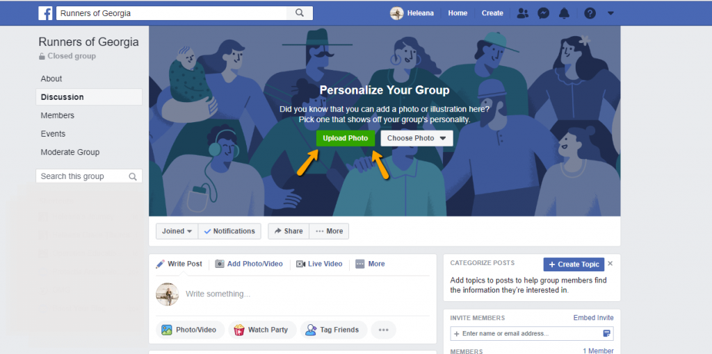 Upload Facebook Group Cover photo