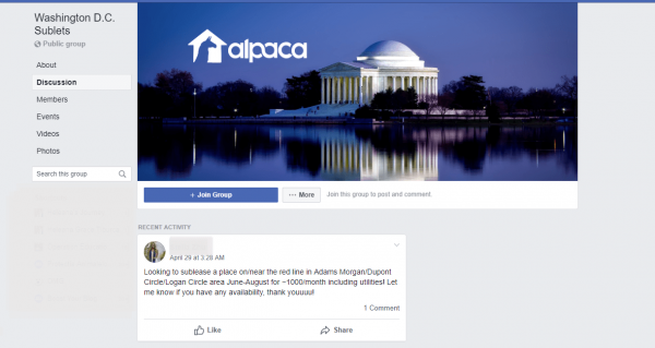 Example of a facebook group cover photo 2019