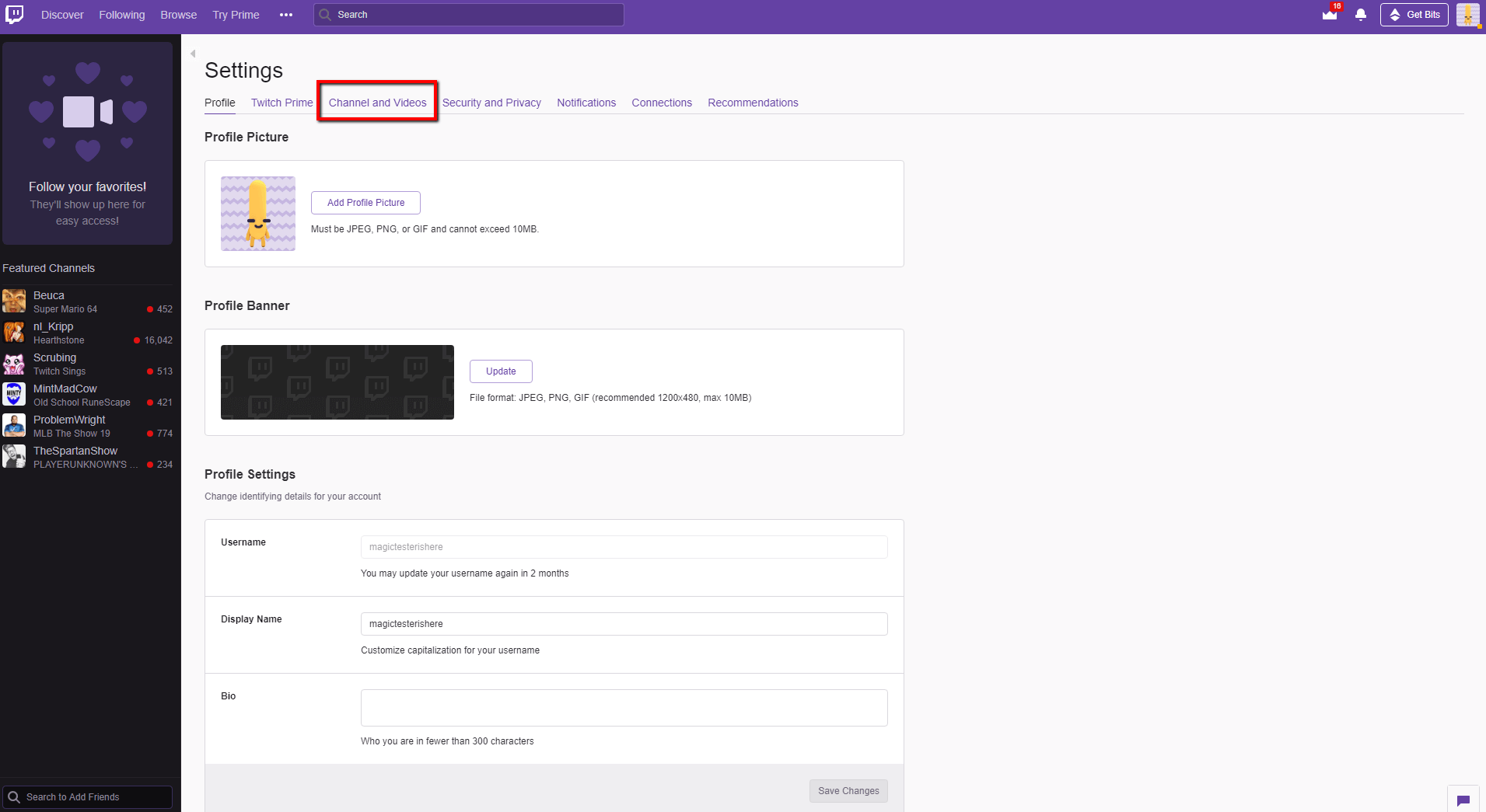 how to add a banner on twitch - step 2