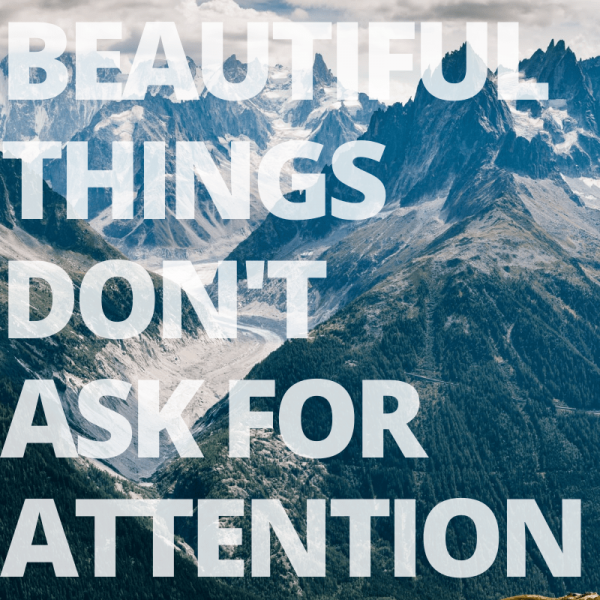 Beautiful things quote mountains summer graphic design