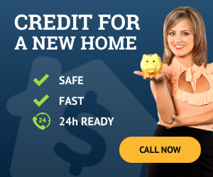 home credit woman holding piggy bank financial advertisement