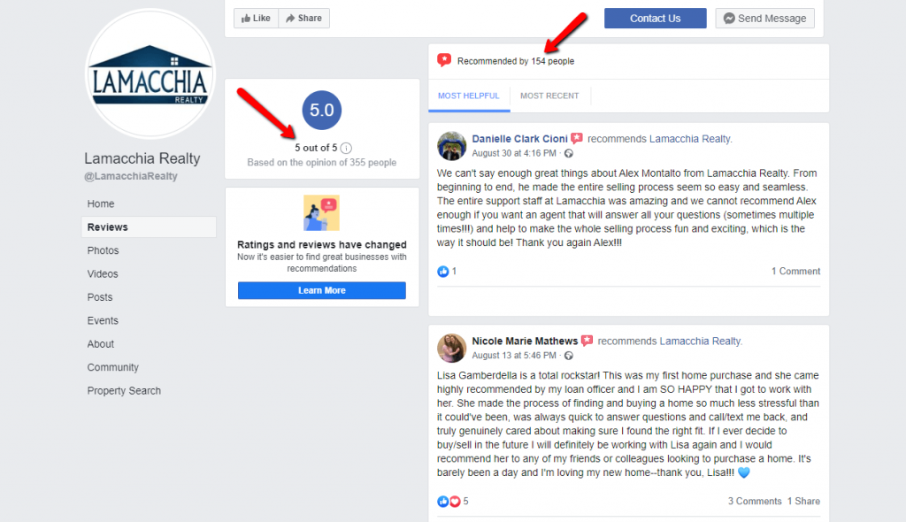 real estate marketing lamacchiarealty Facebook reviews