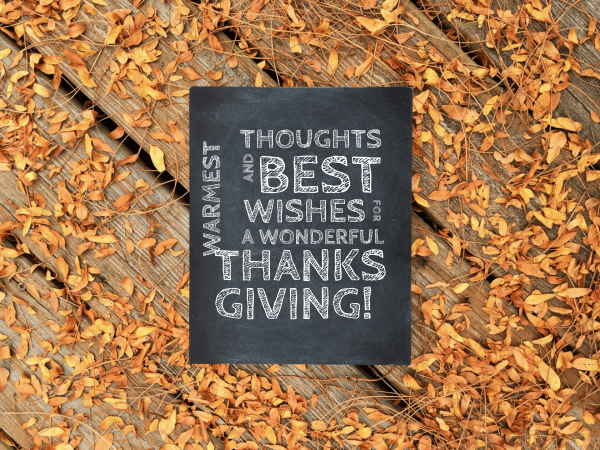 thoughts and best wishes thanksgiving card