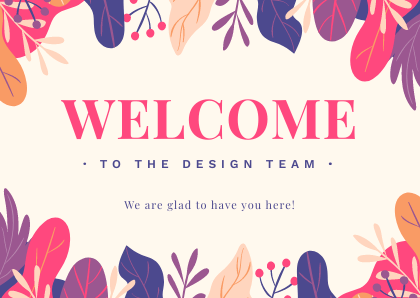 Welcome to the team Cards Bannersnack Template Floral Print