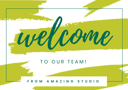 Welcome to the team cards Bannersnack Templates Green