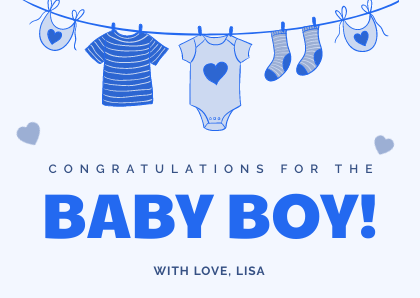 Baby Shower & New Baby Blue Card