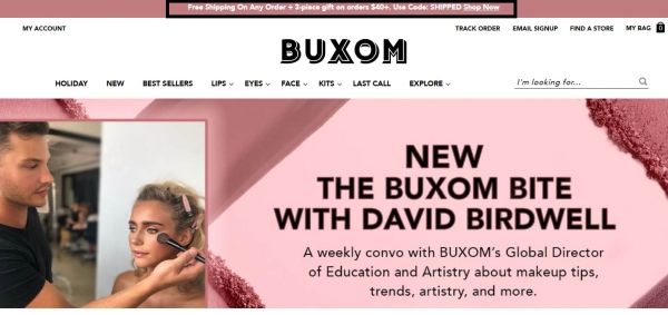 buxom free shipping promotion strategy
