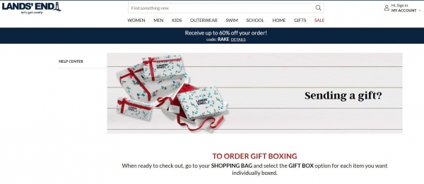 land's end free gift box promotion strategy