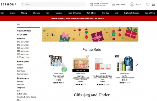 sephora gift ideas promotion strategy