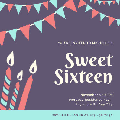 Sweet Sixteen Invitation Template