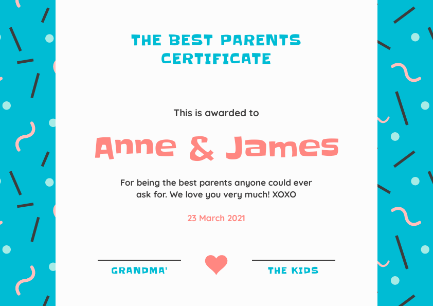 best parents certificate