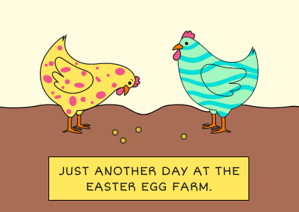 Easter Egg Farm Funny Chicken Card
