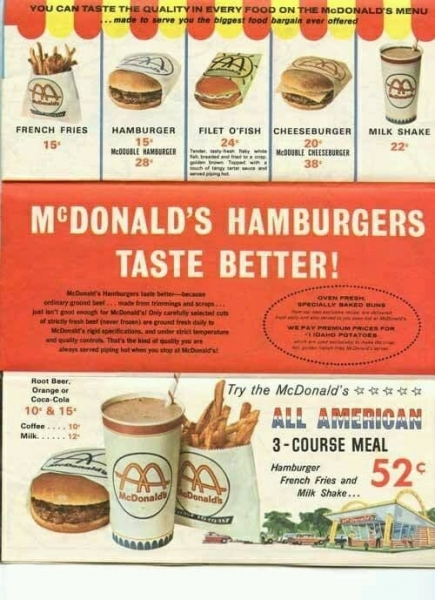 McDonald's hamburger menu advertisement