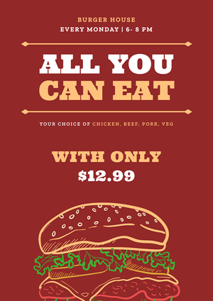All You Can Eat Restaurant Poster