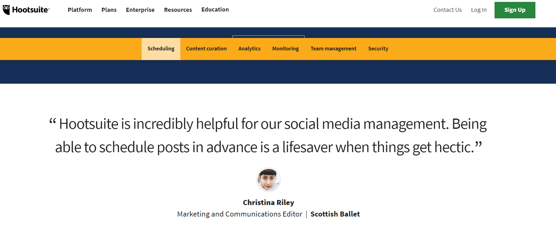 hootsuite quote testimonial page