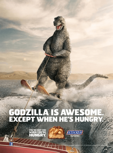 Snickers Godzilla Advertisement Example