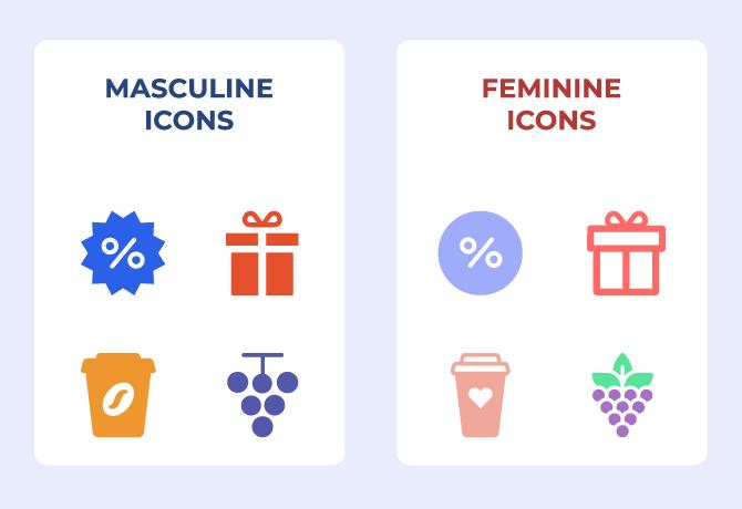 feminine icons masculine icons