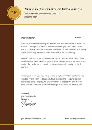 Brinkley University Cover Letter