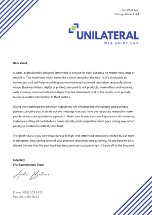 Unilateral Cover Letter