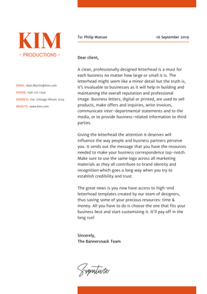 Kim Productions Cover Letter