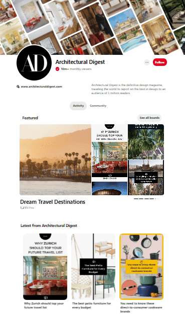 Architectural Digest Pinterest Page