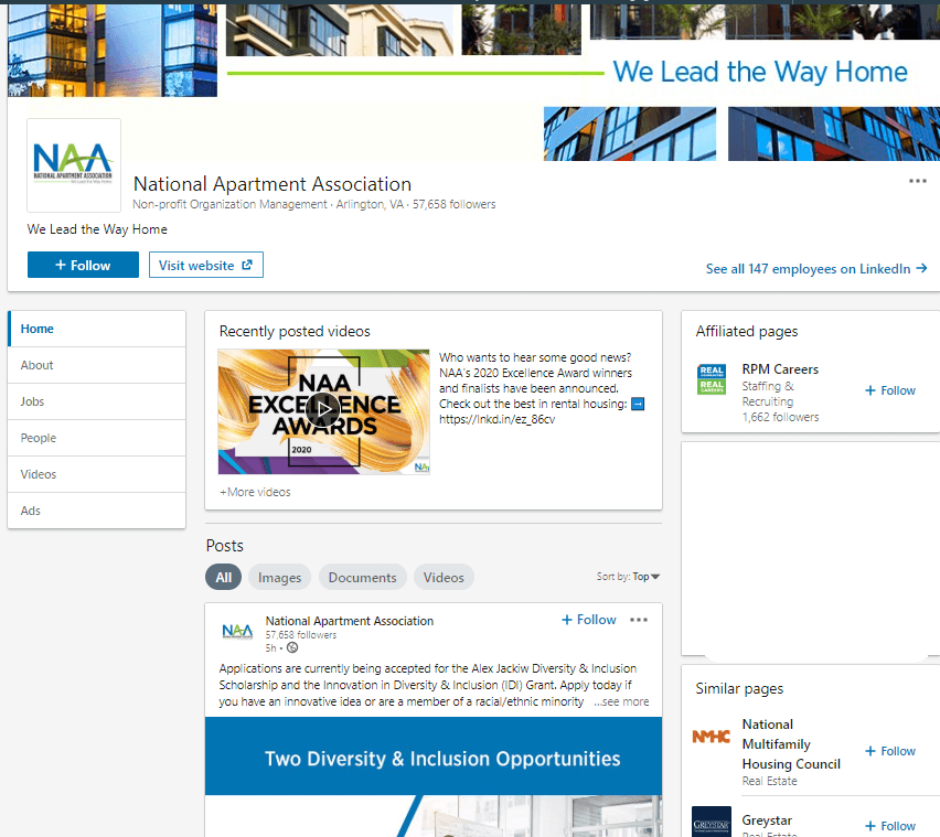 National aspartment association LinkedIn pagge