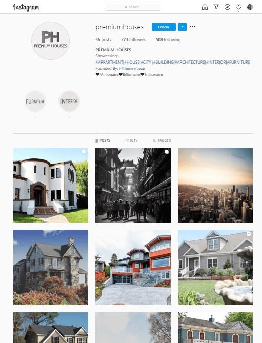 Premium Houses Instagram Account