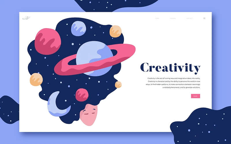 geometric and organic shapes landing page