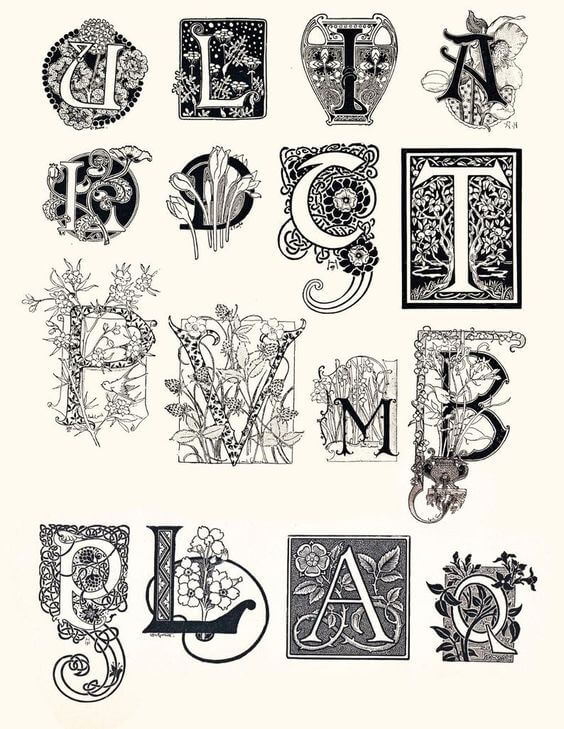 organic shapes lettering