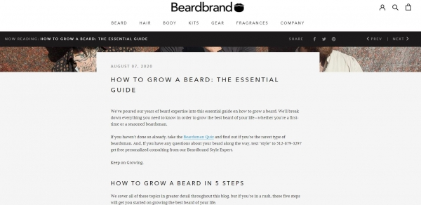 beardbrand blog posting ecommerce marketing strategy