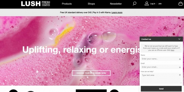 lush live chat ecommerce marketing strategy