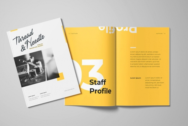 yellow marketing booklet