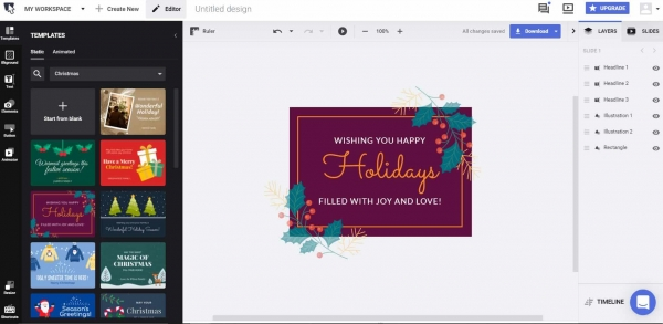 choose a christmas card template or start from scratch