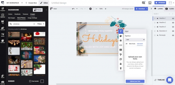 upload font for your christmas card