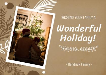 wonderful holiday christmas card