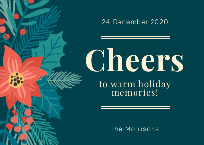 cheers to warm holidays memories christmas card