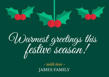 warmest greetings christmas card