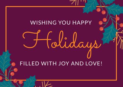 wishing you happy holiday christmas card