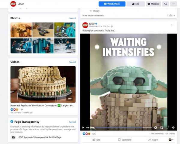 lego on facebook social media design