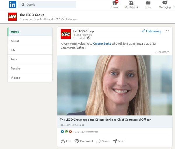 lego on linkedin social media design